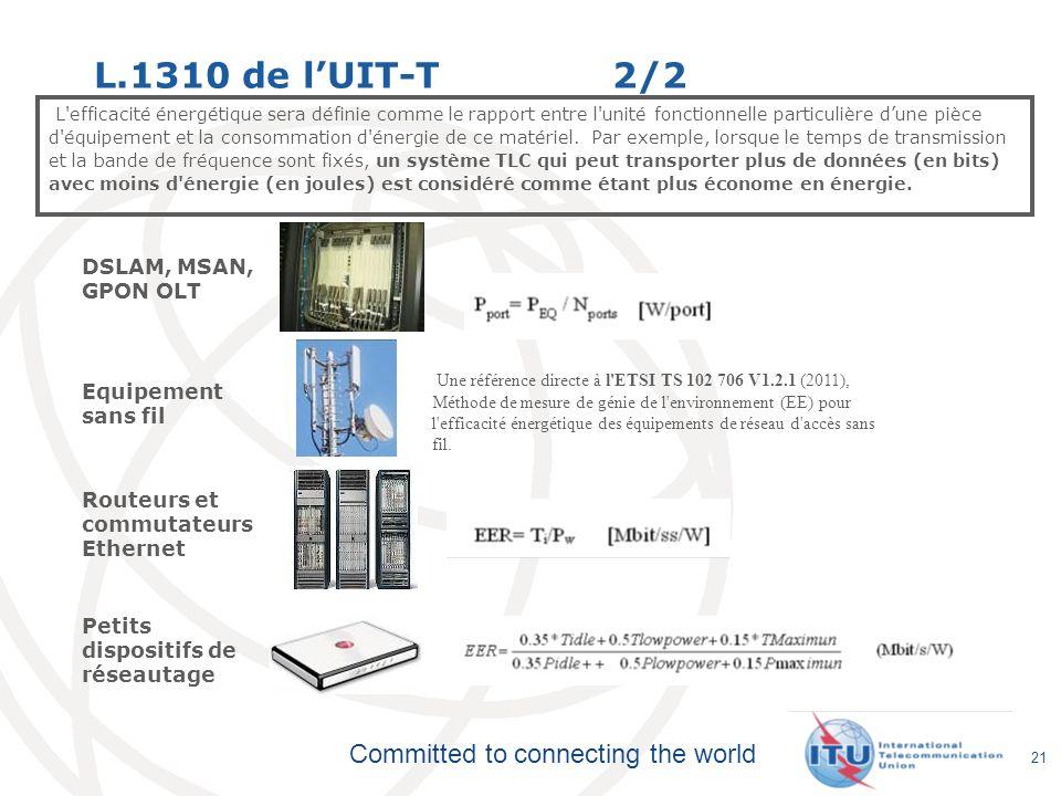 Committed to connecting the world L.1310 de lUIT-T 2/2 L'efficacité énergétique sera définie comme le rapport entre l'unité fonctionnelle particulière