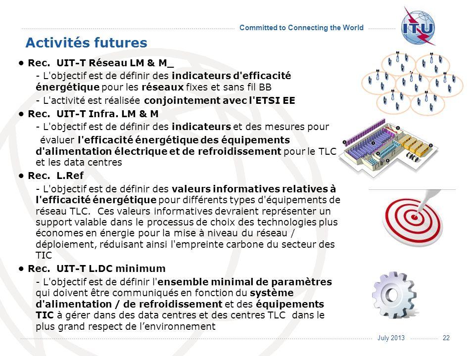 July 2013 Committed to Connecting the World Activités futures Rec. UIT-T Réseau LM & M_ - L'objectif est de définir des indicateurs d'efficacité énerg