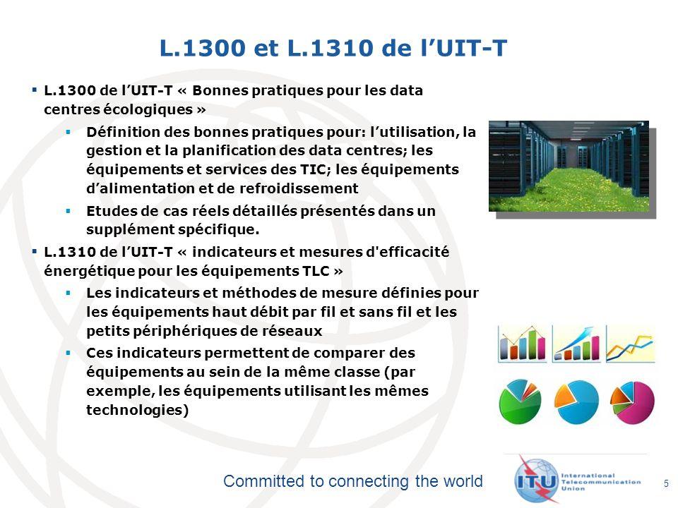 Committed to connecting the world L.1300 et L.1310 de lUIT-T L.1300 de lUIT-T « Bonnes pratiques pour les data centres écologiques » Définition des bo