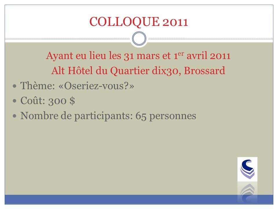 COLLOQUE 2011 Ayant eu lieu les 31 mars et 1 er avril 2011 Alt Hôtel du Quartier dix30, Brossard Thème: «Oseriez-vous?» Coût: 300 $ Nombre de participants: 65 personnes
