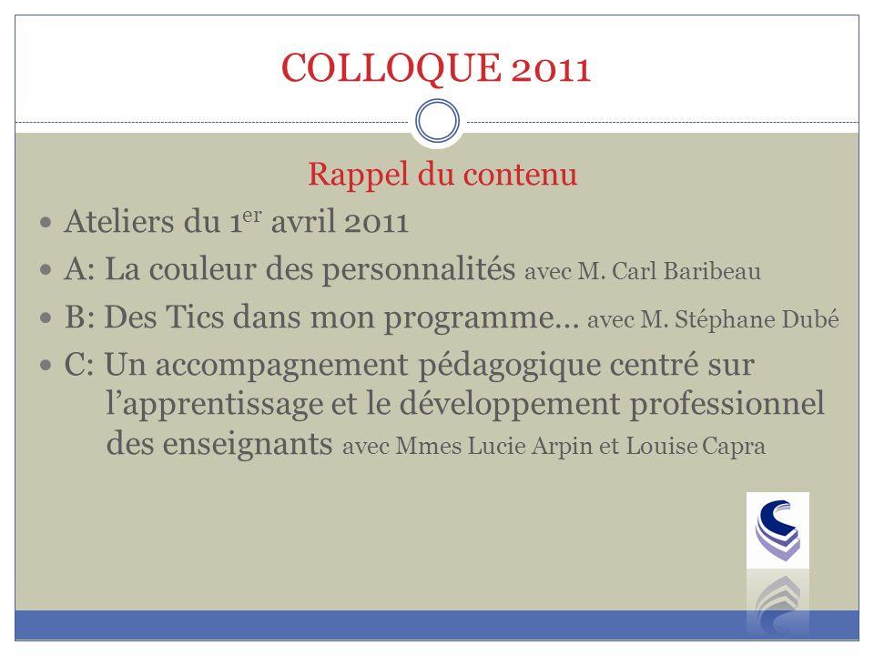 COLLOQUE 2011 Rappel du contenu Ateliers du 1 er avril 2011 A: La couleur des personnalités avec M.