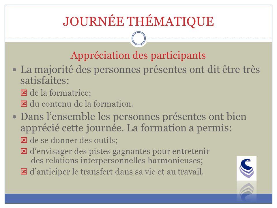 JOURNÉE THÉMATIQUE La majorité des personnes présentes ont dit être très satisfaites: de la formatrice; du contenu de la formation.