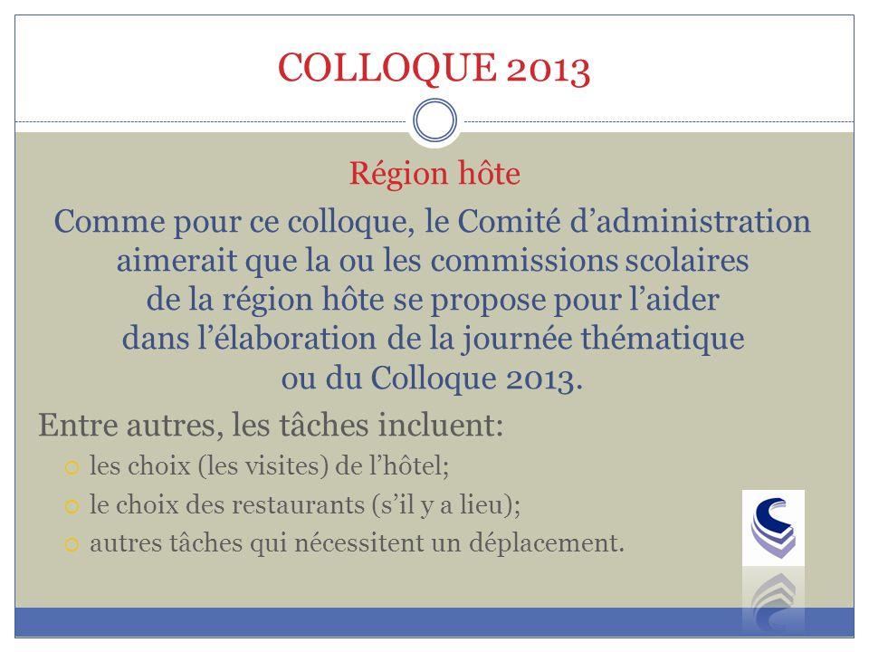 COLLOQUE 2013 Comme pour ce colloque, le Comité dadministration aimerait que la ou les commissions scolaires de la région hôte se propose pour laider dans lélaboration de la journée thématique ou du Colloque 2013.