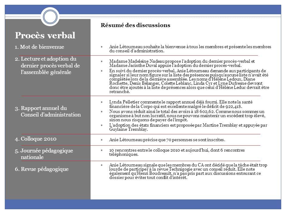 Procès verbal Résumé des discussions Anie Létourneau fait la lecture des règlements déjà adoptés au colloque 2009 sans avoir été formellement modifiés dans les statuts et règlements de la Corpo.