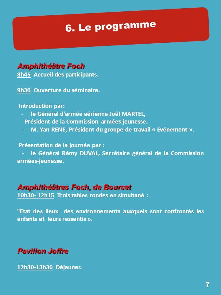 6. Le programme Amphithéâtre Foch 8h45 Accueil des participants.