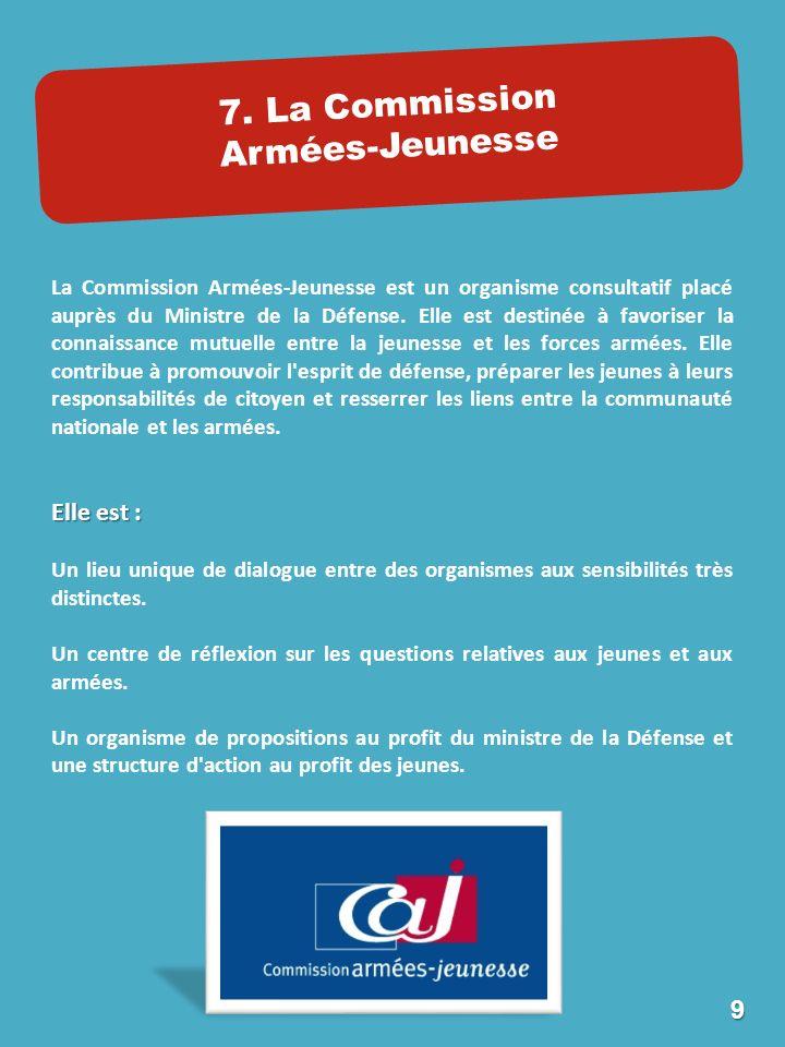 La Commission Armées-Jeunesse est un organisme consultatif placé auprès du Ministre de la Défense.