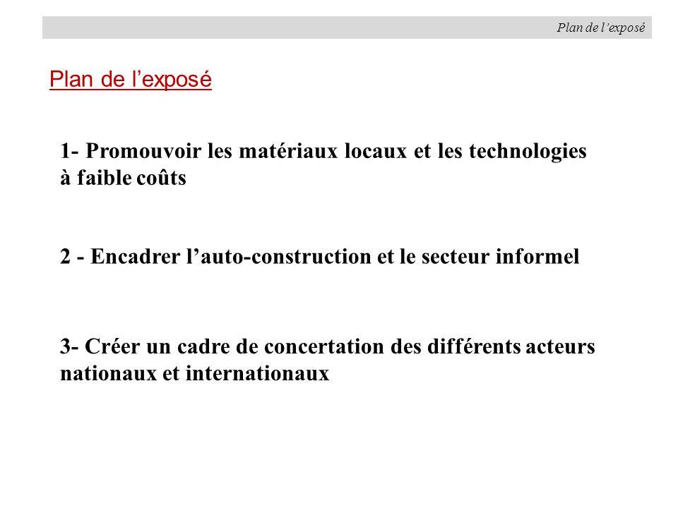 Plan de lexposé 1- Promouvoir les matériaux locaux et les technologies à faible coûts 2 - Encadrer lauto-construction et le secteur informel 3- Créer