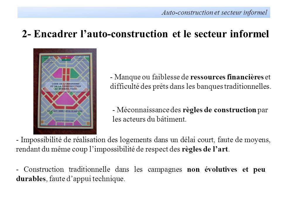 2- Encadrer lauto-construction et le secteur informel Auto-construction et secteur informel - Lutilisation des matériaux locaux naturels soit en construction, soit en revêtement.