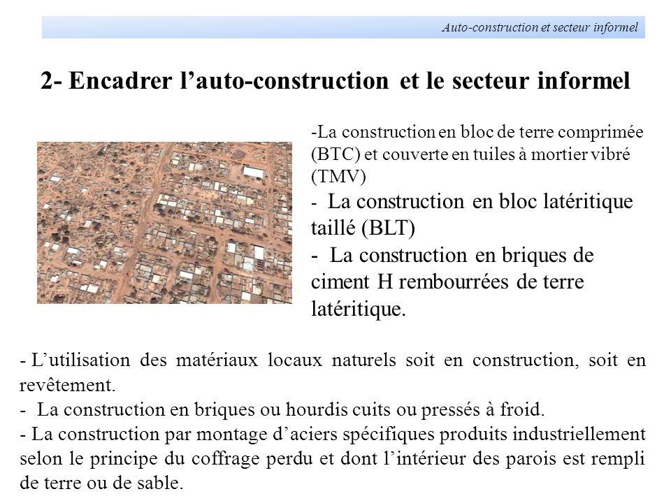 2- Encadrer lauto-construction et le secteur informel Auto-construction et secteur informel - Lutilisation des matériaux locaux naturels soit en const