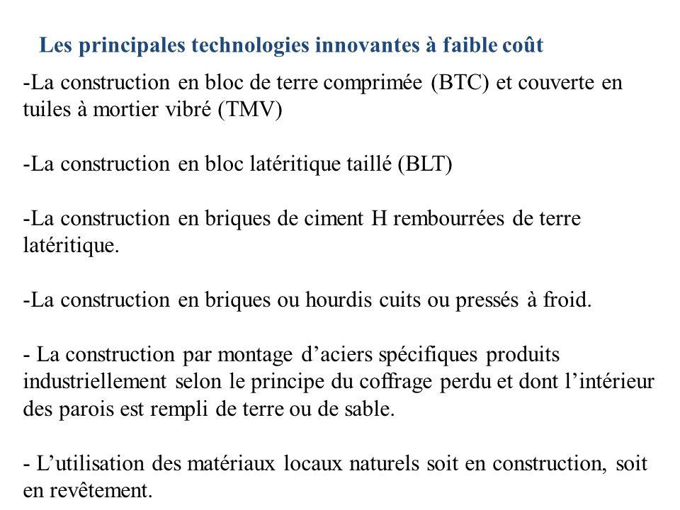 Les principales technologies innovantes à faible coût -La construction en bloc de terre comprimée (BTC) et couverte en tuiles à mortier vibré (TMV) -L