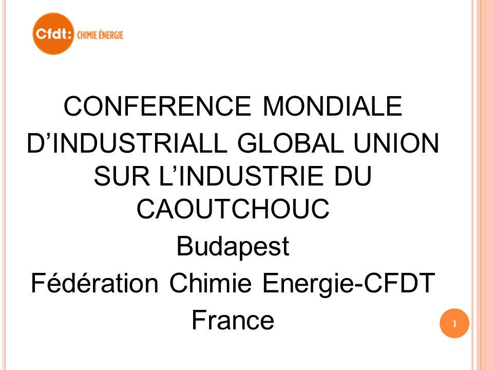 CONFERENCE MONDIALE DINDUSTRIALL GLOBAL UNION SUR LINDUSTRIE DU CAOUTCHOUC Budapest Fédération Chimie Energie-CFDT France 1