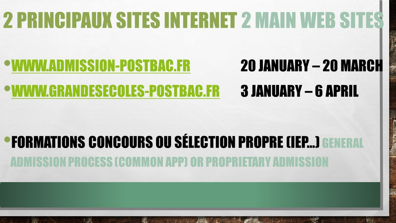 PRESENTATION ADMISSION POST BAC WWW.ADMISSION-POSTBAC.FR WWW.ADMISSION-POSTBAC.FR