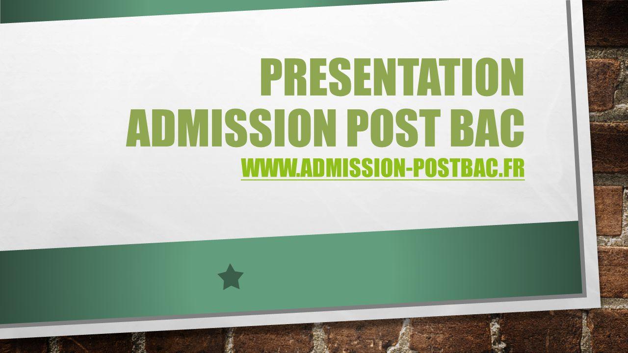 PRESENTATION ADMISSION POST BAC WWW.ADMISSION-POSTBAC.FR WWW.ADMISSION-POSTBAC.FR