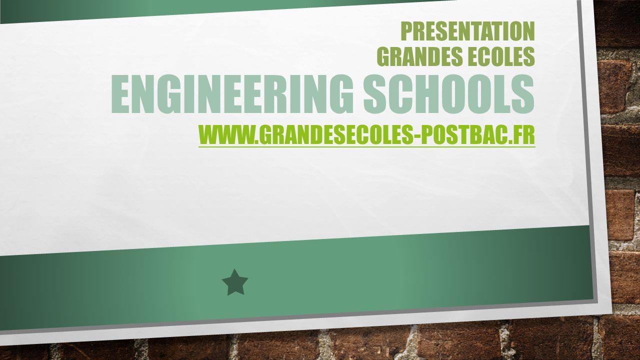 PRESENTATION GRANDES ECOLES ENGINEERING SCHOOLS WWW.GRANDESECOLES-POSTBAC.FR WWW.GRANDESECOLES-POSTBAC.FR