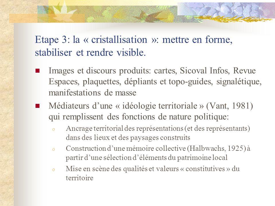 Etape 3: la « cristallisation »: mettre en forme, stabiliser et rendre visible.
