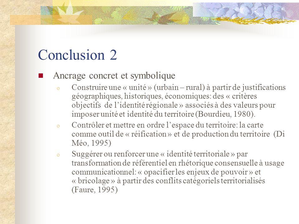 Conclusion 2 Ancrage concret et symbolique o Construire une « unité » (urbain – rural) à partir de justifications géographiques, historiques, économiques: des « critères objectifs de lidentité régionale » associés à des valeurs pour imposer unité et identité du territoire (Bourdieu, 1980).