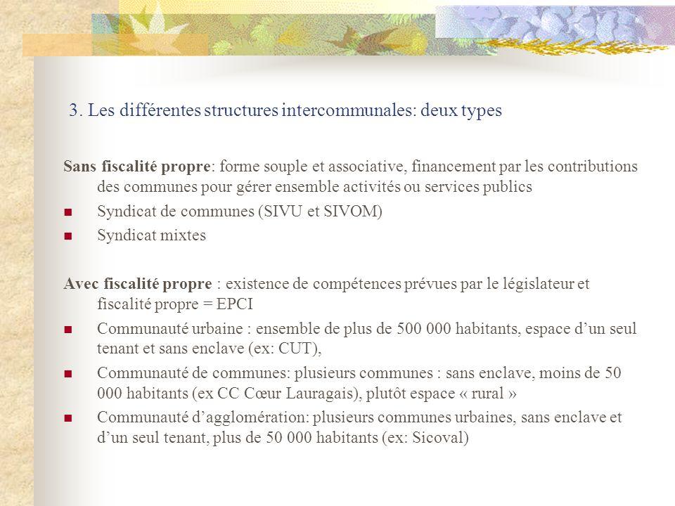 3. Les différentes structures intercommunales: deux types Sans fiscalité propre: forme souple et associative, financement par les contributions des co