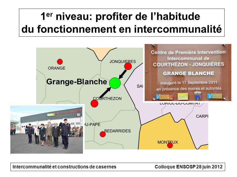 1 er niveau: profiter de lhabitude du fonctionnement en intercommunalité Intercommunalité et constructions de casernesColloque ENSOSP 28 juin 2012 Gra