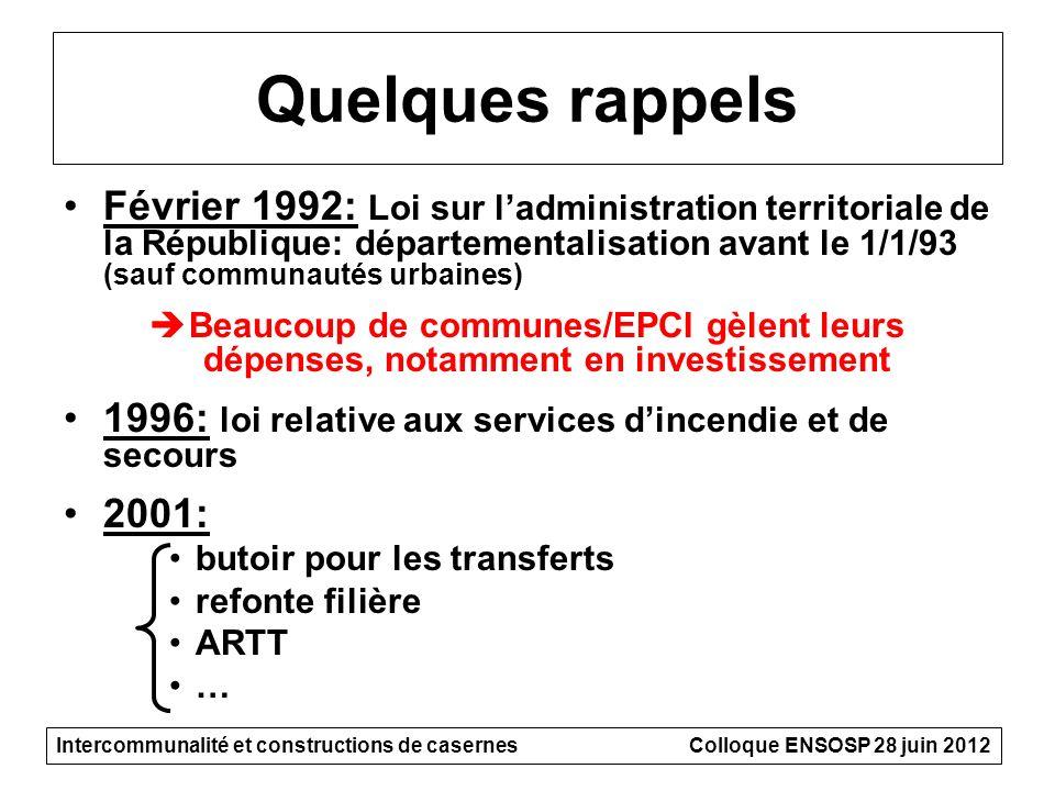 Quelques rappels Février 1992: Loi sur ladministration territoriale de la République: départementalisation avant le 1/1/93 (sauf communautés urbaines)