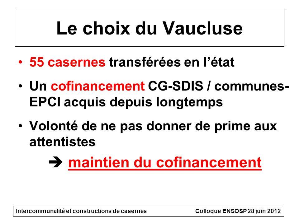 Le choix du Vaucluse 55 casernes transférées en létat Un cofinancement CG-SDIS / communes- EPCI acquis depuis longtemps Volonté de ne pas donner de pr