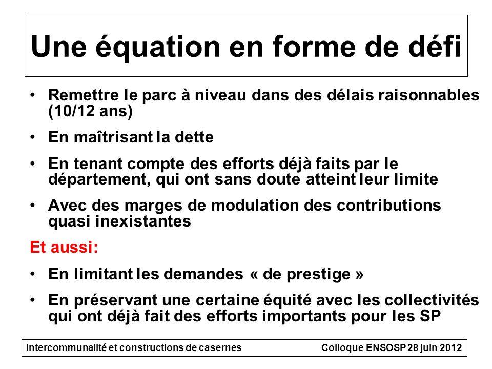 Une équation en forme de défi Remettre le parc à niveau dans des délais raisonnables (10/12 ans) En maîtrisant la dette En tenant compte des efforts d