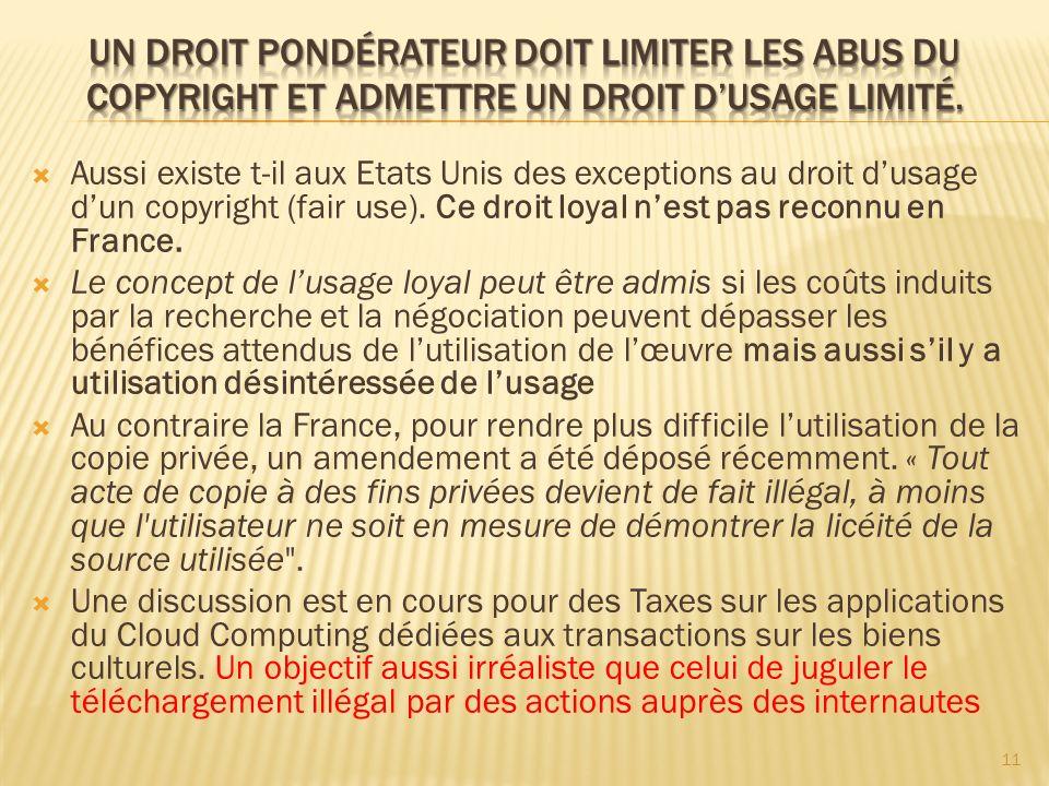 Aussi existe t-il aux Etats Unis des exceptions au droit dusage dun copyright (fair use). Ce droit loyal nest pas reconnu en France. Le concept de lus