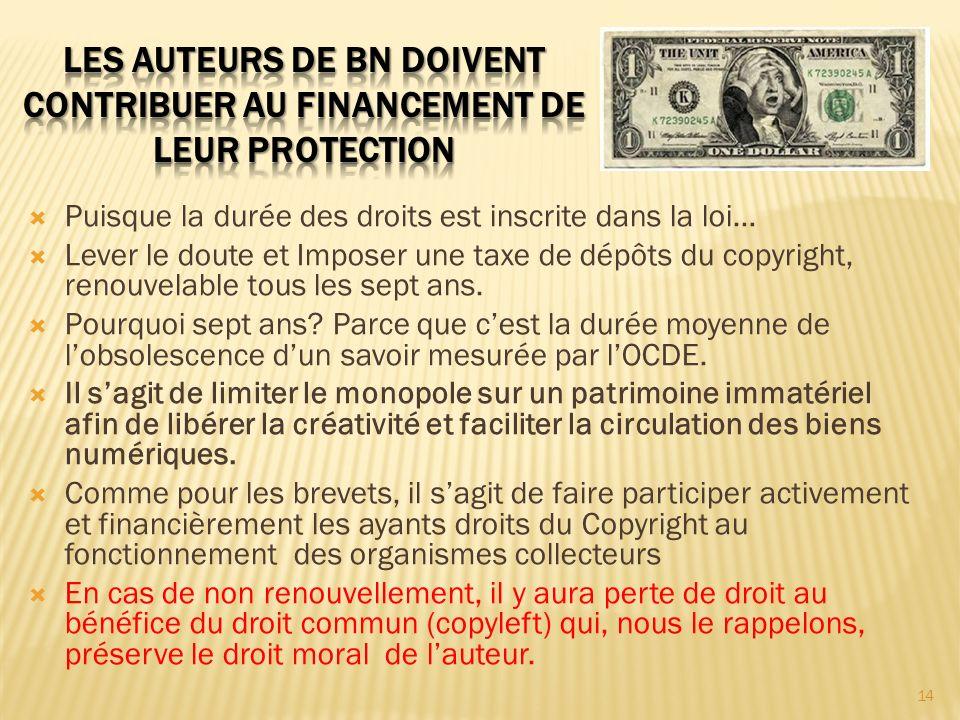Puisque la durée des droits est inscrite dans la loi… Lever le doute et Imposer une taxe de dépôts du copyright, renouvelable tous les sept ans. Pourq