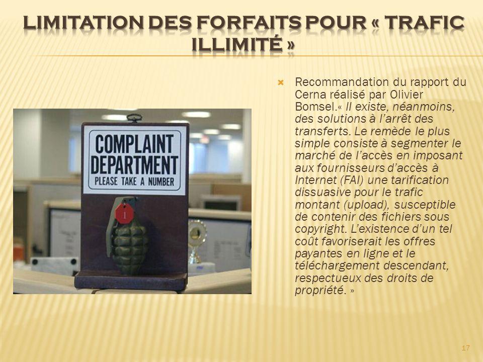 Recommandation du rapport du Cerna réalisé par Olivier Bomsel.« Il existe, néanmoins, des solutions à larrêt des transferts. Le remède le plus simple