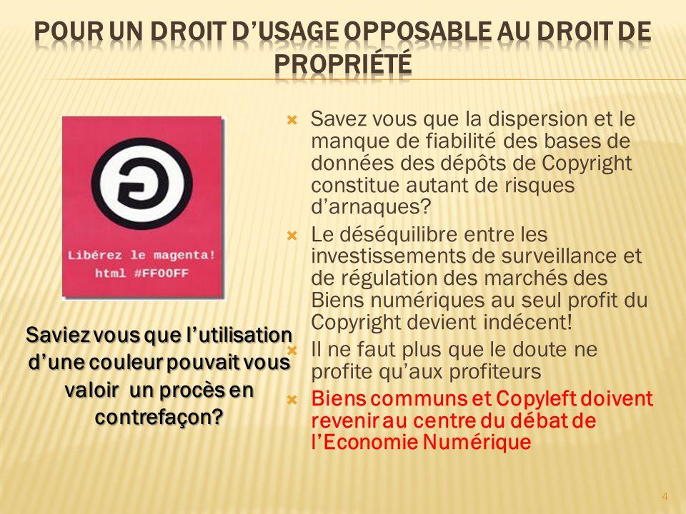 Savez vous que la dispersion et le manque de fiabilité des bases de données des dépôts de Copyright constitue autant de risques darnaques? Le déséquil