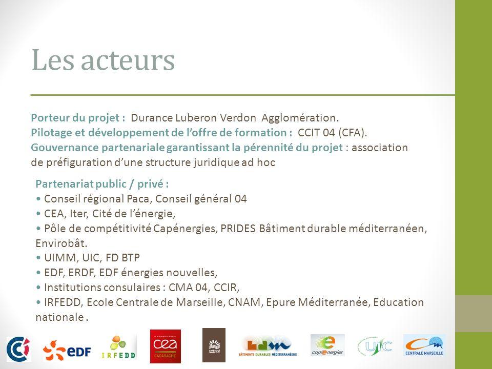 Les acteurs Porteur du projet : Durance Luberon Verdon Agglomération. Pilotage et développement de loffre de formation : CCIT 04 (CFA). Gouvernance pa