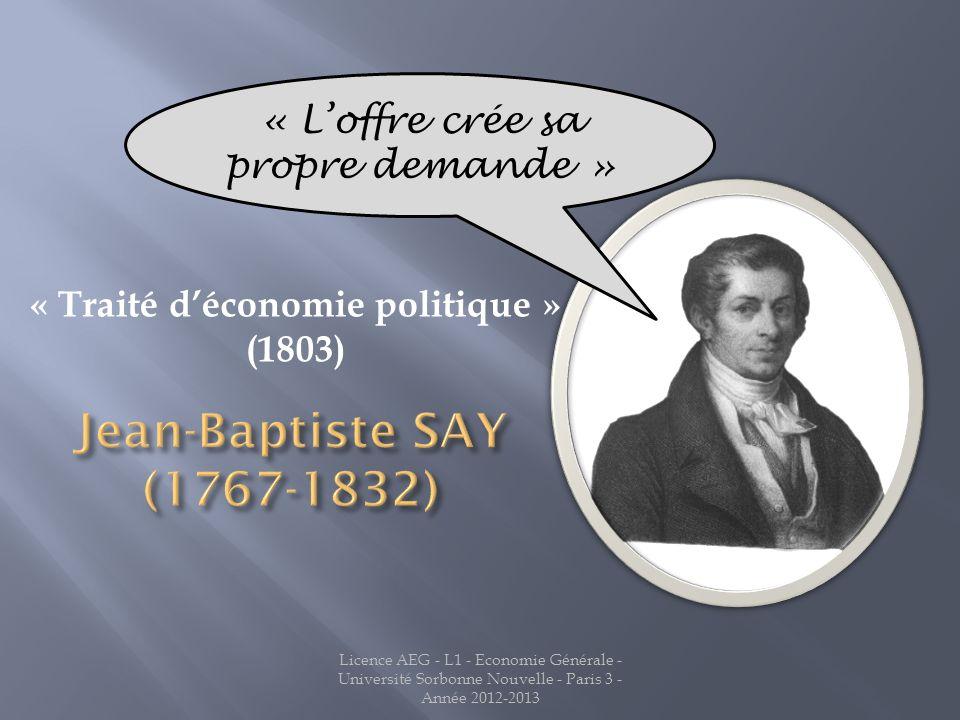 « Traité déconomie politique » (1803) « Loffre crée sa propre demande »