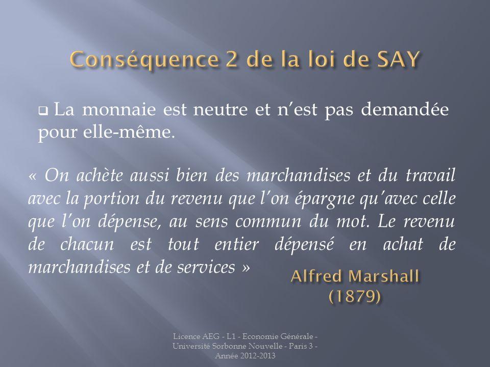 La monnaie est neutre et nest pas demandée pour elle-même. Licence AEG - L1 - Economie Générale - Université Sorbonne Nouvelle - Paris 3 - Année 2012-