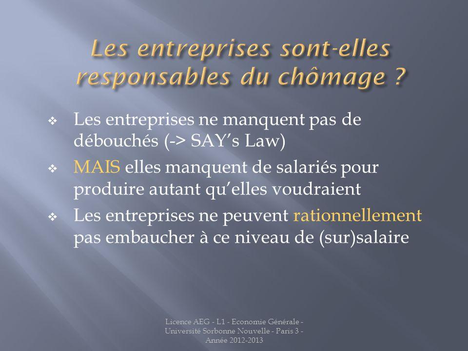 Licence AEG - L1 - Economie Générale - Université Sorbonne Nouvelle - Paris 3 - Année 2012-2013 Les entreprises ne manquent pas de débouchés (-> SAYs
