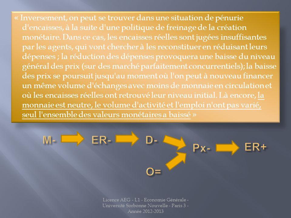 Licence AEG - L1 - Economie Générale - Université Sorbonne Nouvelle - Paris 3 - Année 2012-2013 « Inversement, on peut se trouver dans une situation d