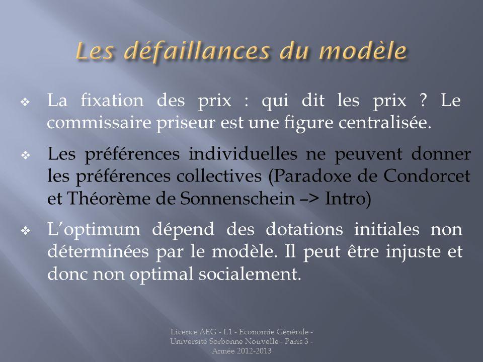 La fixation des prix : qui dit les prix ? Le commissaire priseur est une figure centralisée. Licence AEG - L1 - Economie Générale - Université Sorbonn