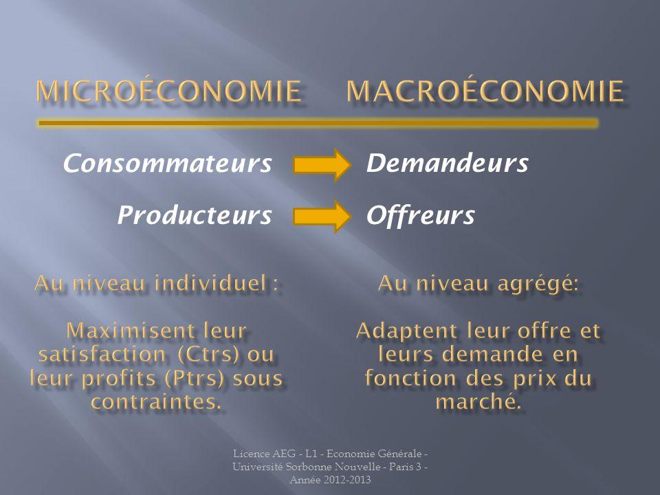 Licence AEG - L1 - Economie Générale - Université Sorbonne Nouvelle - Paris 3 - Année 2012-2013 Consommateurs Producteurs Demandeurs Offreurs