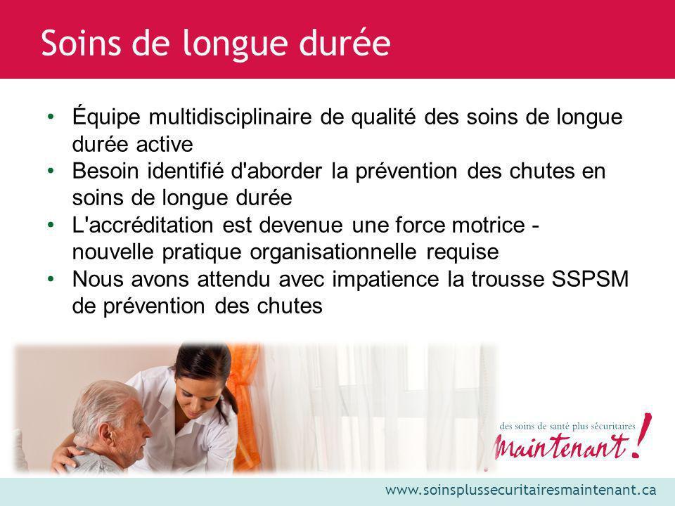 www.soinsplussecuritairesmaintenant.ca Soins de longue durée Équipe multidisciplinaire de qualité des soins de longue durée active Besoin identifié d'