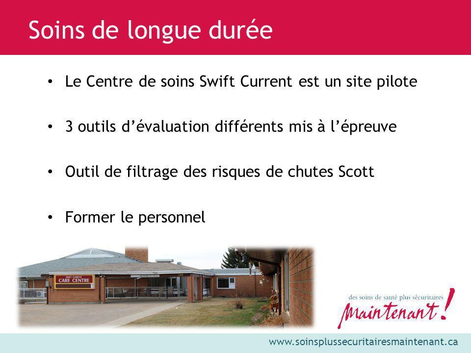 www.soinsplussecuritairesmaintenant.ca Le Centre de soins Swift Current est un site pilote 3 outils dévaluation différents mis à lépreuve Outil de fil