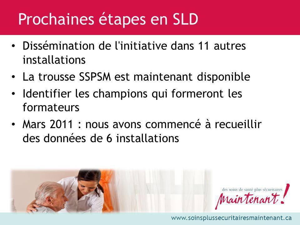 www.soinsplussecuritairesmaintenant.ca Dissémination de l'initiative dans 11 autres installations La trousse SSPSM est maintenant disponible Identifie
