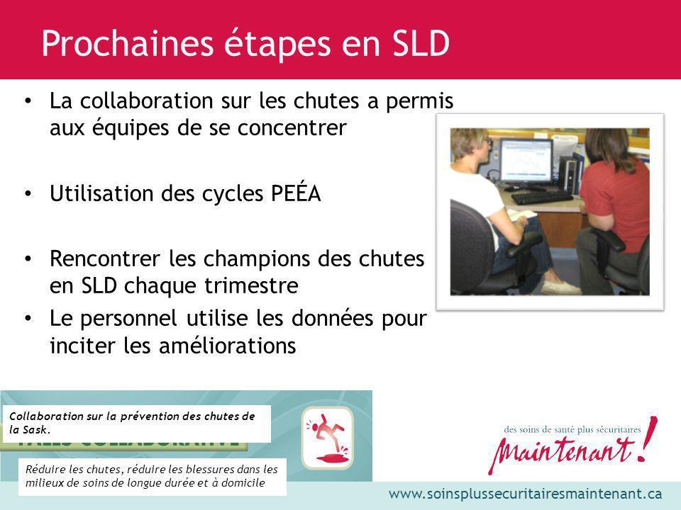 www.soinsplussecuritairesmaintenant.ca Prochaines étapes en SLD La collaboration sur les chutes a permis aux équipes de se concentrer Utilisation des