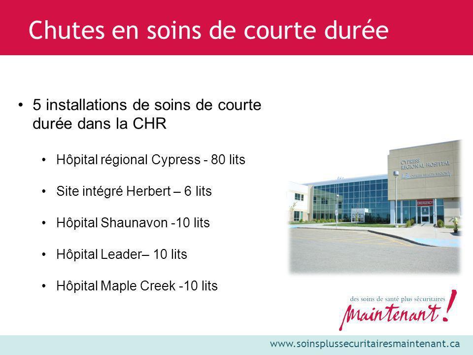 Chutes en soins de courte durée 5 installations de soins de courte durée dans la CHR Hôpital régional Cypress - 80 lits Site intégré Herbert – 6 lits
