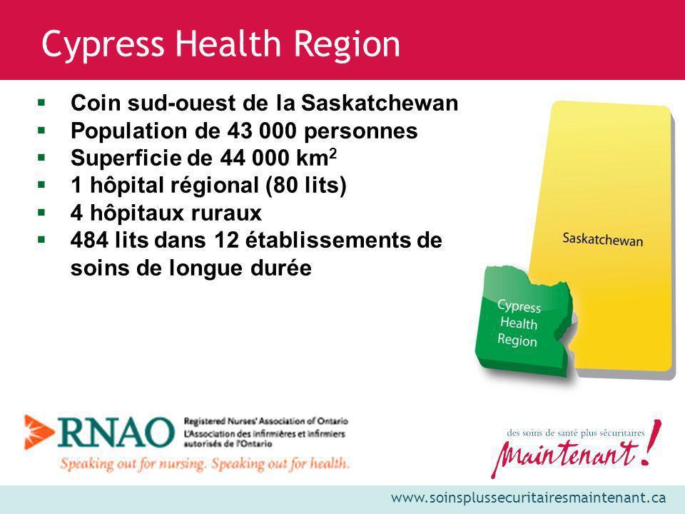 www.soinsplussecuritairesmaintenant.ca Cypress Health Region Coin sud-ouest de la Saskatchewan Population de 43 000 personnes Superficie de 44 000 km