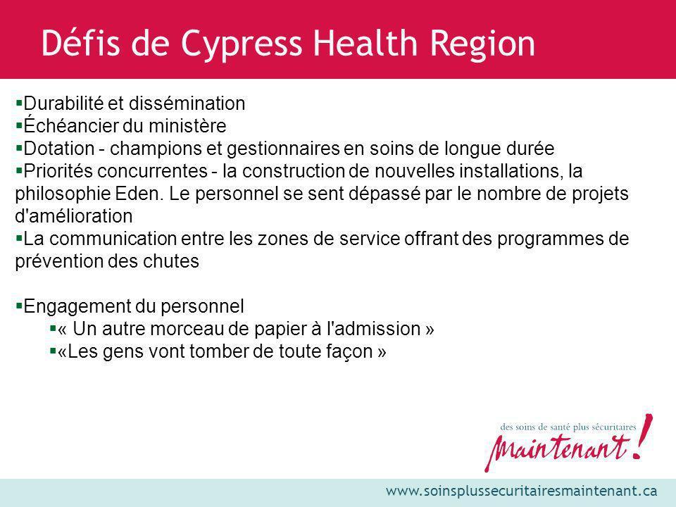 www.soinsplussecuritairesmaintenant.ca Défis de Cypress Health Region Durabilité et dissémination Échéancier du ministère Dotation - champions et gest