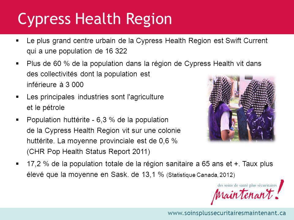 www.soinsplussecuritairesmaintenant.ca Cypress Health Region Le plus grand centre urbain de la Cypress Health Region est Swift Current qui a une popul