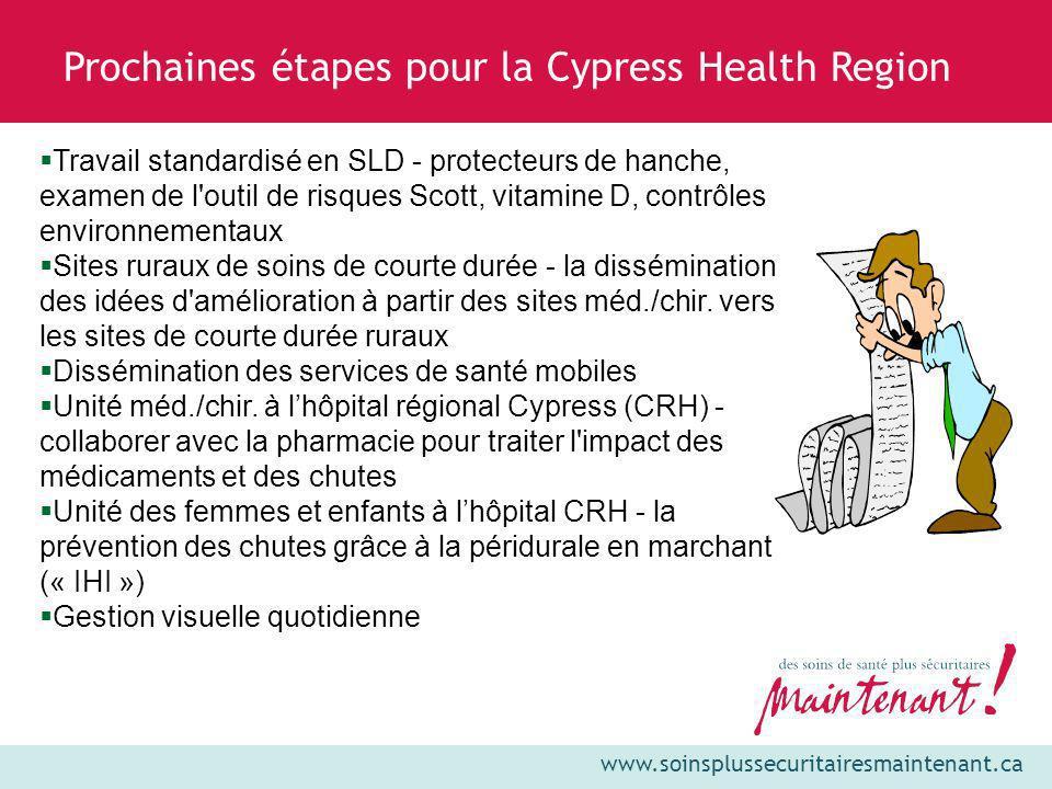 www.soinsplussecuritairesmaintenant.ca Prochaines étapes pour la Cypress Health Region Travail standardisé en SLD - protecteurs de hanche, examen de l