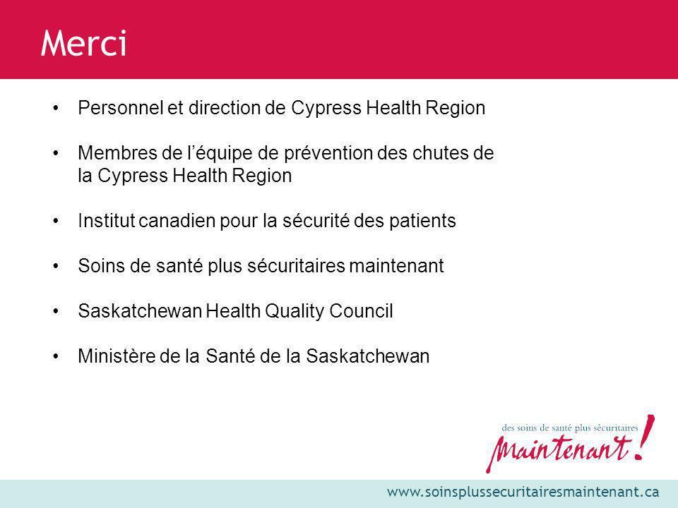 www.soinsplussecuritairesmaintenant.ca Merci Personnel et direction de Cypress Health Region Membres de léquipe de prévention des chutes de la Cypress