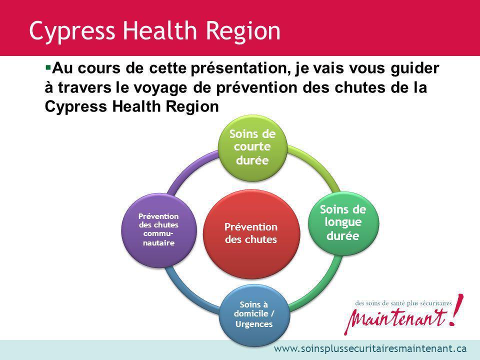 www.soinsplussecuritairesmaintenant.ca Cypress Health Region Vision : Leaders de l excellence en santé rurale Mission : Au sein du système de soins de santé de la Saskatchewan, Cypress Health offre des services de qualité et sécuritaires à chaque individu.