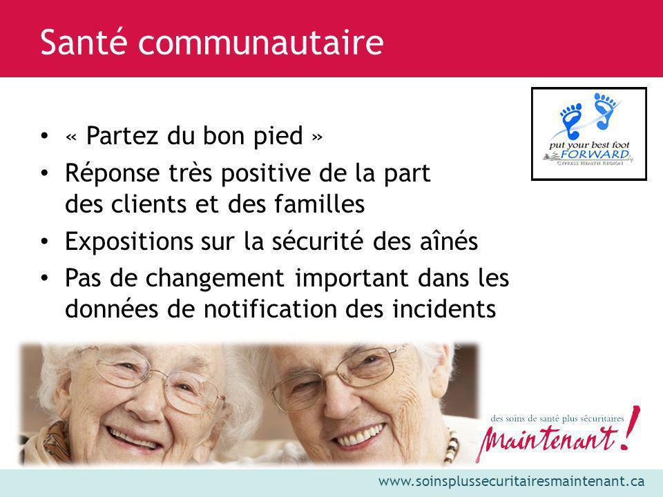 www.soinsplussecuritairesmaintenant.ca « Partez du bon pied » Réponse très positive de la part des clients et des familles Expositions sur la sécurité