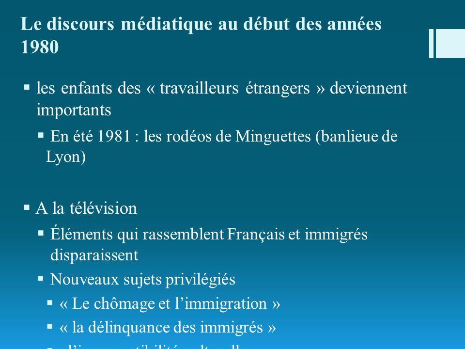 Le discours médiatique au début des années 1980 les enfants des « travailleurs étrangers » deviennent importants En été 1981 : les rodéos de Minguette