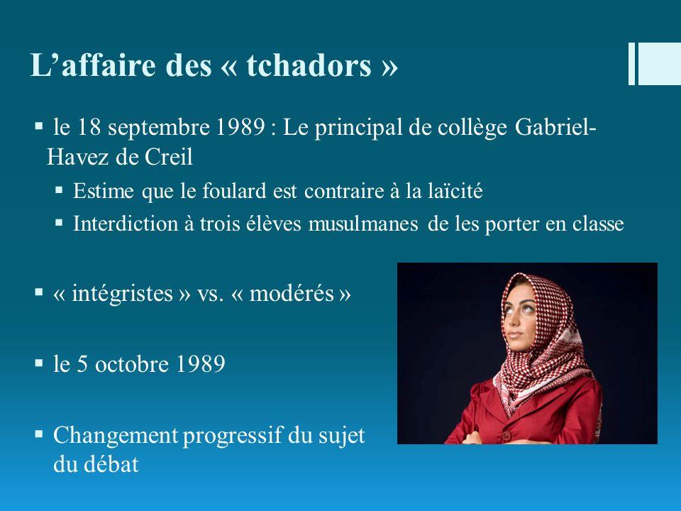 Laffaire des « tchadors » le 18 septembre 1989 : Le principal de collège Gabriel- Havez de Creil Estime que le foulard est contraire à la laïcité Inte